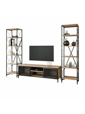 Тв композиция в индустриален стил - шкаф с 2 етажерки HM8906.01