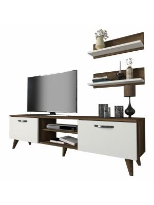 Тв композиция шкаф с 2 рафта цвят бяло/орех HM8910.02