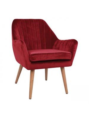 Velvet armchair Corena HM8400.06 in red color