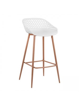 Stool Polypropylene White with metallic legs Avaya HM8686.01 47x49x97,5 cm.