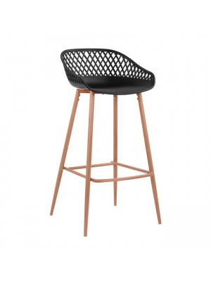 Stool Polypropylene Black with metallic legs Avaya HM8686.02 47x49x97,5 cm