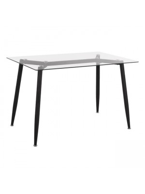 Kitchen Table Metallic Black with Glass HM8498.01 120x70x75.52cm
