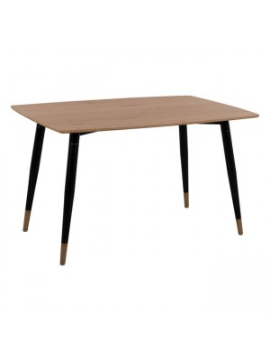 Table with natural desktop & Metallic legs Black Matte HM8553.01 120x80x75cm
