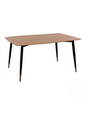 Table with natural desktop with metallic legs black matte HM8554.01 160x90x75cm