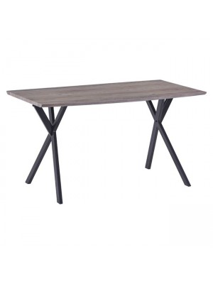 Table Alarick HM8550.02 with MDF Surface Old Beech and Metallic Legs 140x80x75cm