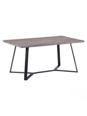 Table Aldwin HM8551.02 with MDF Surface Old Beech and Metallic legs 160x90x75cm