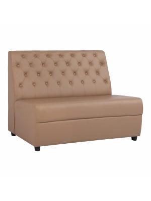 Двуместен диван Landon от синтетична кожа в цвят капучино с декоративни копчета HM3164.04
