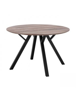 Table HM8718.02 with MDF surface old beech & metallic legs Φ120x76 cm.