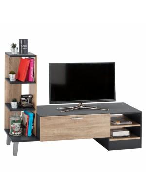 Тв шкаф с рафтове Adison цвят тъмно сив/сонома HM2250.10