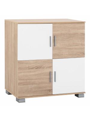Шкаф с четири врати от меламин в сонома и бяло HM2406.02