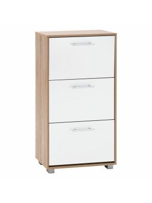 Шкаф за обувки с 3 вертикални врати от меламин цвят сонома/бял HM2221.06