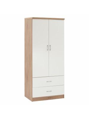 Двукрилен меламинов гардероб с две чекмеджета в сонама и бял HM338.06
