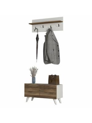 Шкаф за обувки и закачалка цвят бяло и орех HM8876.01