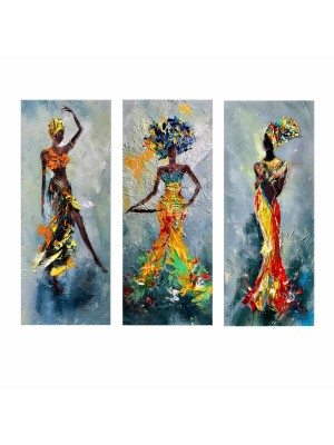 Картина принт от 3 елемента африканско момиче с шарена рокля HM7204.02