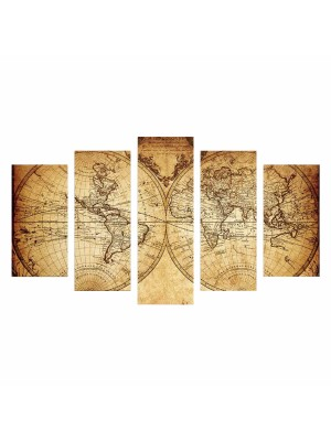 Картина пано от 5 елемента VINTAGE WORLD MAP HM7206.06
