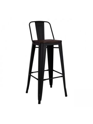 Метален бар стол с дървена седалка HM8221.22