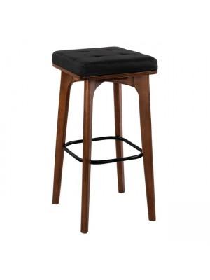Дървен бар стол Carrie с кожена седалка HM11047.01