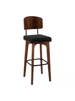 Дървен бар стол Carrie с кожена седалка и облегалка HM11048.01