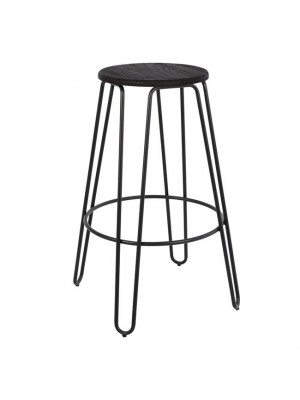 Bar Stool Metallic HM0089.22 Kelly Wood Black matte