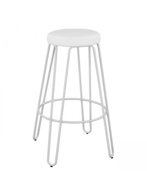Bar Stool Metallic HM0098.21 Kelly White Matte and PU White 41x41x80cm