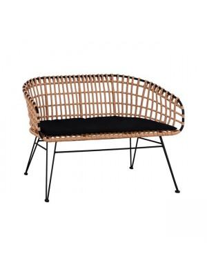 Модерна пейка Allegra от метална рамка в черно с плетена ракита в бежово HM5692