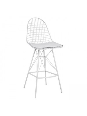 Bar Stool Metallic White with pillow Cici HM8239.01