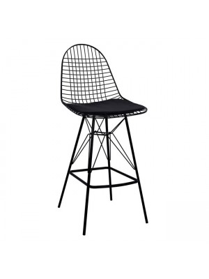 Bar Stool Metallic Black with pillow Cici HM8239.02