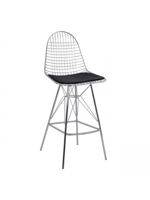 Bar Stool Metallic Chromed with pillow Cici HM8239.100