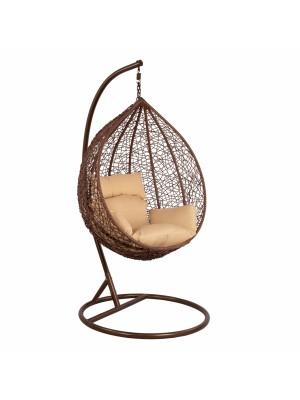 Стол люлка от ракита кафяв с възглавници с регулируема височина на седалката HM5540.01
