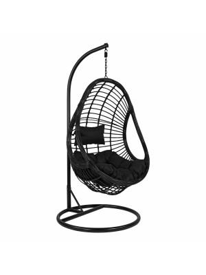 Стол люлка от ракита Nest черен с възглавници с регулируема височина на седалката HM5541.02