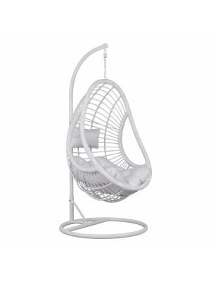 Стол люлка от ракита Nest бял с възглавници с регулируема височина на седалката HM5541.03
