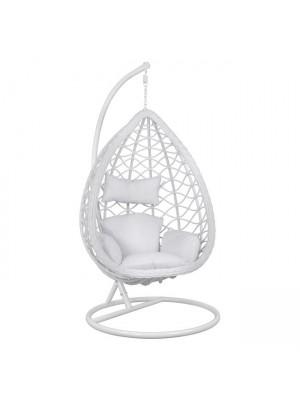 Стол люлка от ракита Nest бял с възглавници с регулируема височина на седалката HM5677.02