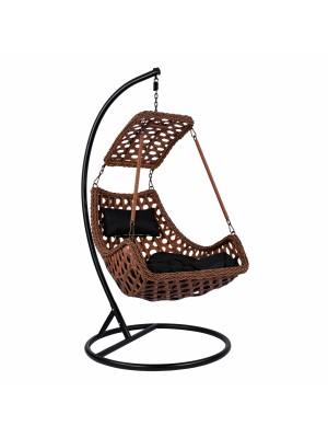 Стол люлка от ракита кафяв с черни възглавници HM5678