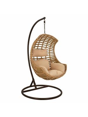 Стол люлка кафяв с бежови възглавници HM5753.01