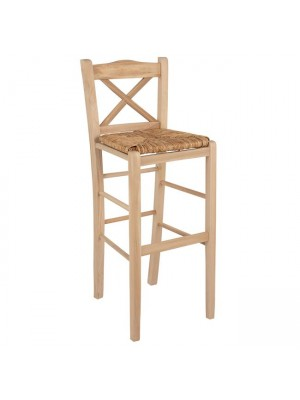 Wooden traditional stool Unpainted with straw HM10375.02