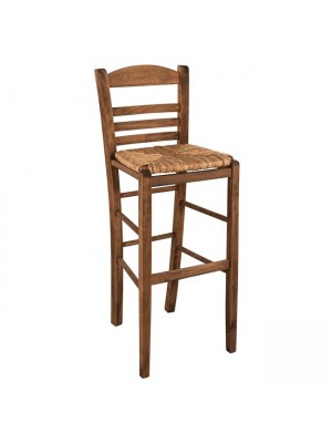 Traditional Stool with straw Walnut HM10377.01