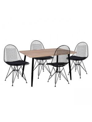 Комплект маса с 4 стола цвят сонома HM11026.02