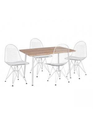 Комплект маса с 4 стола цвят сонома HM11026.01