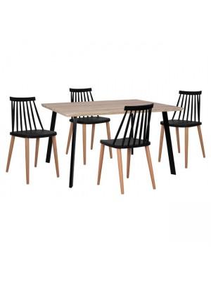 Комплект маса с 4 стола Vanessa цвят сонома HM11037