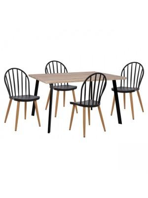 Комплект маса с 4 стола цвят сонома HM11038