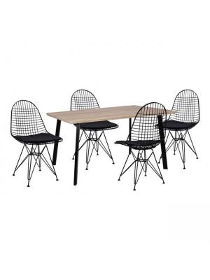 Комплект маса с 4 стола цвят сонома  HM11039