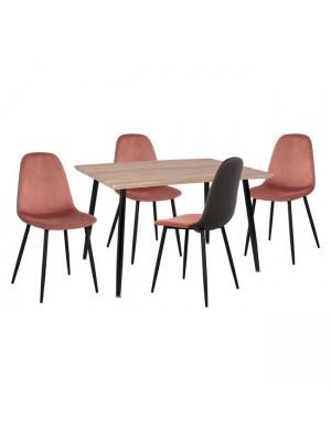 Комплект маса 120x70x76.50 с 4 стола Leonardo  Rotten Apple HM11096