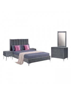 Set Bedroom 4 pieces Velvet Grey HM11258.01