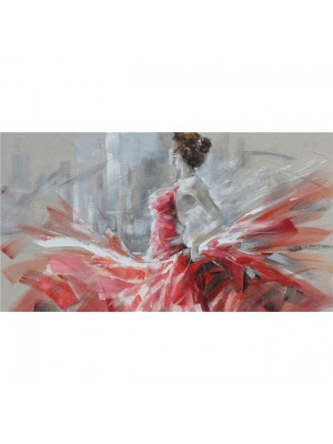 Картина жена с червена рокля 100x70x3.8cm