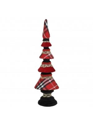 Червена текстилна коледна елхичка
