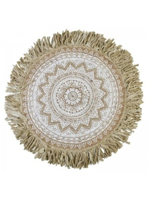 Кръгъл килим с ресни бежов Φ120