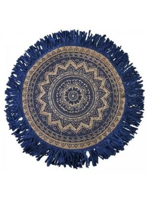 Кръгъл килим с ресни син Φ120