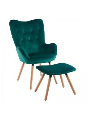 Сет тъмно зелено плюшено кресло с табуретка