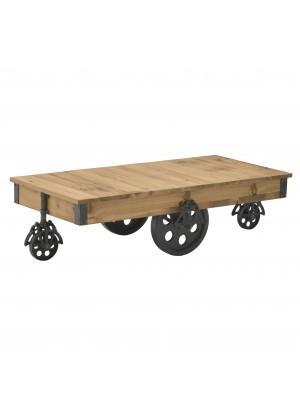 Холна маса с декоративни колела в индустриален стил