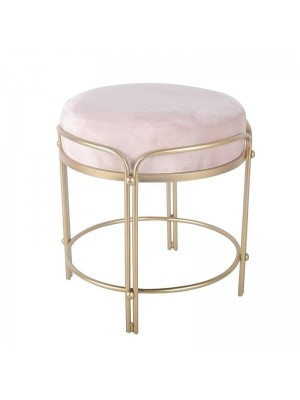 Табуретка със златна рамка и розова плюшена седалка